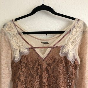 Buckle Tops - Buckle | Gimmicks by BKE Brown Lace Top Size XS